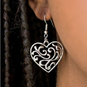 """The Truth Hearts"" -Silver Filigree Heart Earrings"